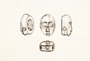 Town Creek (Mg 3), Drawings of Stone Effigy from Burial 135 (Coe 1995:Fig. 11.7), Montgomery Co., North Carolina, United States (RLA image 22992.jpg)
